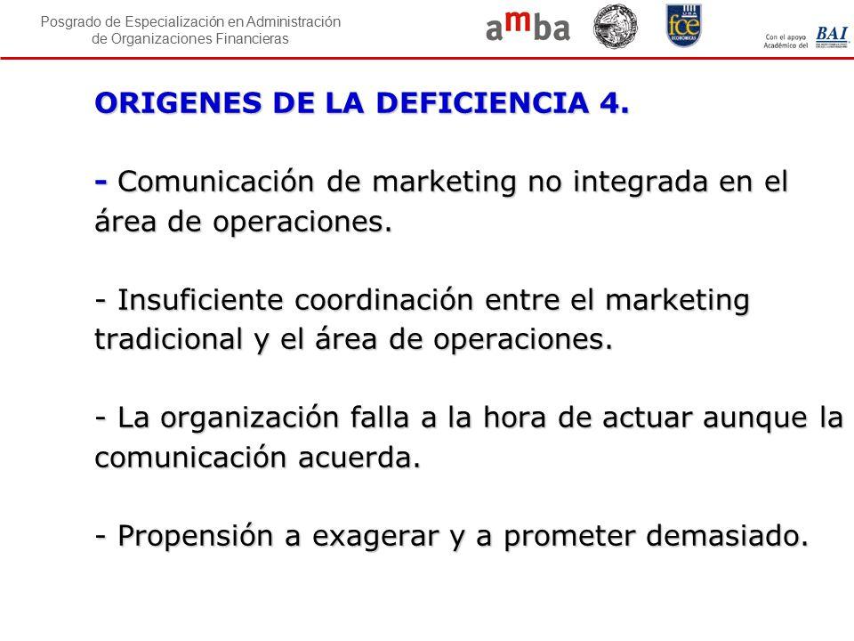 Posgrado de Especialización en Administración de Organizaciones Financieras ORIGENES DE LA DEFICIENCIA 4. - Comunicación de marketing no integrada en
