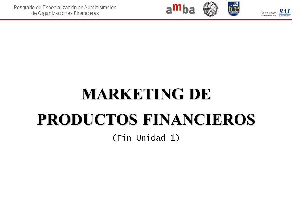 Posgrado de Especialización en Administración de Organizaciones Financieras MARKETING DE PRODUCTOS FINANCIEROS MARKETING DE PRODUCTOS FINANCIEROS (Fin
