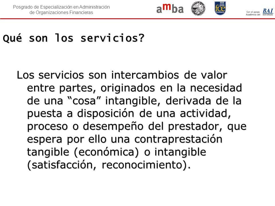 Posgrado de Especialización en Administración de Organizaciones Financieras Qué son los servicios? Los servicios son intercambios de valor entre parte