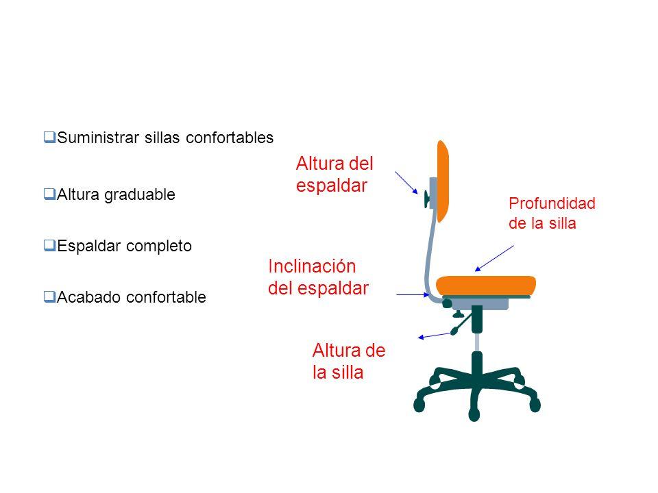  Suministrar sillas confortables  Altura graduable  Espaldar completo  Acabado confortable Altura de la silla Profundidad de la silla Inclinación
