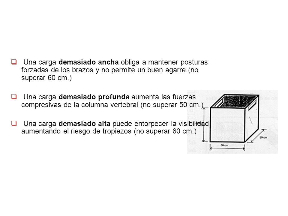  Una carga demasiado ancha obliga a mantener posturas forzadas de los brazos y no permite un buen agarre (no superar 60 cm.)  Una carga demasiado pr
