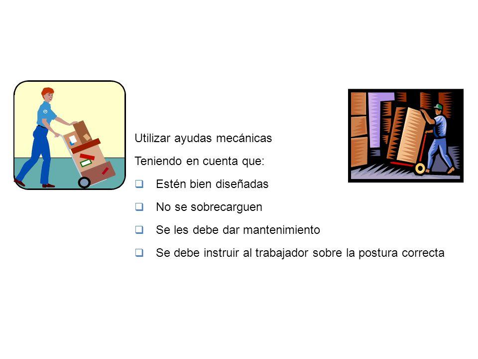PREVENCIÓN Y CONTROL Utilizar ayudas mecánicas Teniendo en cuenta que:  Estén bien diseñadas  No se sobrecarguen  Se les debe dar mantenimiento  S