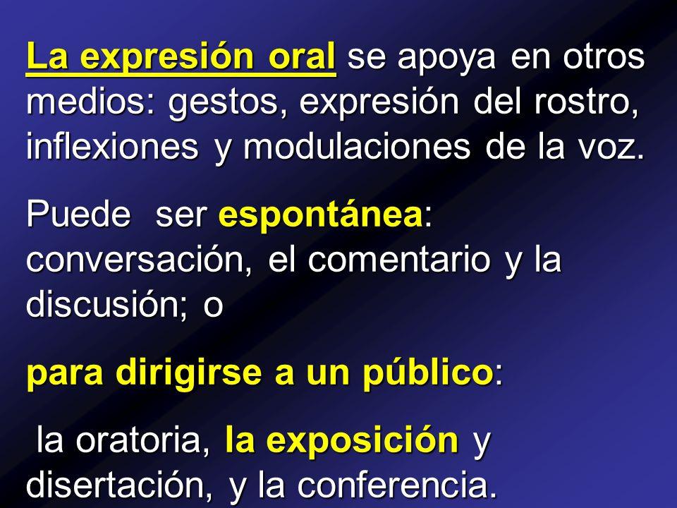 La expresión oral se apoya en otros medios: gestos, expresión del rostro, inflexiones y modulaciones de la voz.
