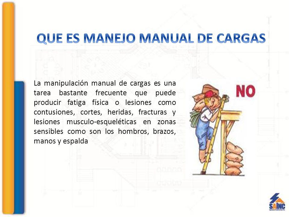 La manipulación manual de cargas es una tarea bastante frecuente que puede producir fatiga física o lesiones como contusiones, cortes, heridas, fracturas y lesiones musculo-esqueléticas en zonas sensibles como son los hombros, brazos, manos y espalda