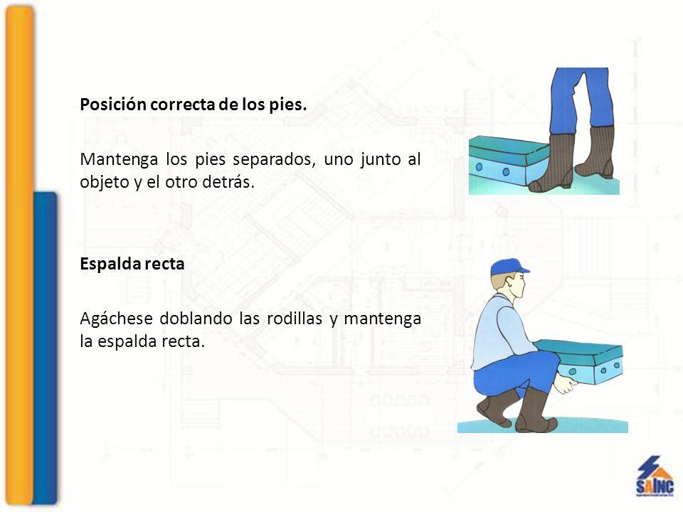 Posición correcta de los pies.Mantenga los pies separados, uno junto al objeto y el otro detrás.