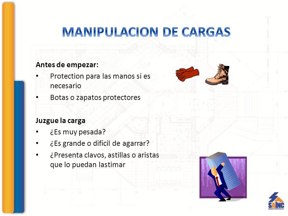 Antes de empezar: Protection para las manos si es necesario Botas o zapatos protectores Juzgue la carga ¿Es muy pesada.