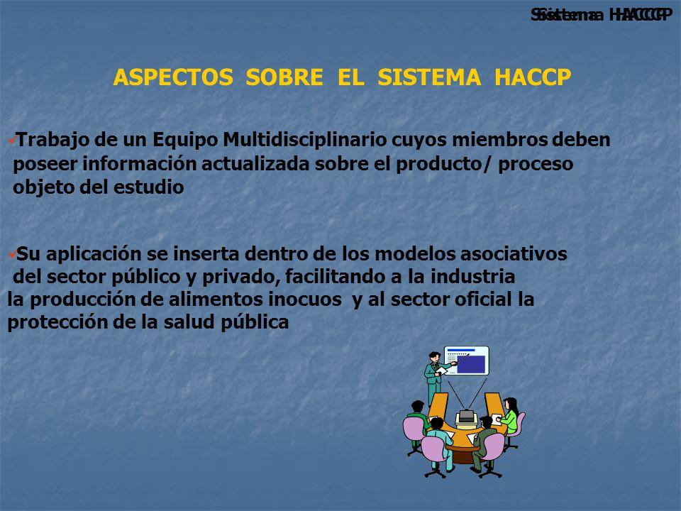ASPECTOS SOBRE EL SISTEMA HACCP Sistema HACCP Su aplicación se inserta dentro de los modelos asociativos del sector público y privado, facilitando a l