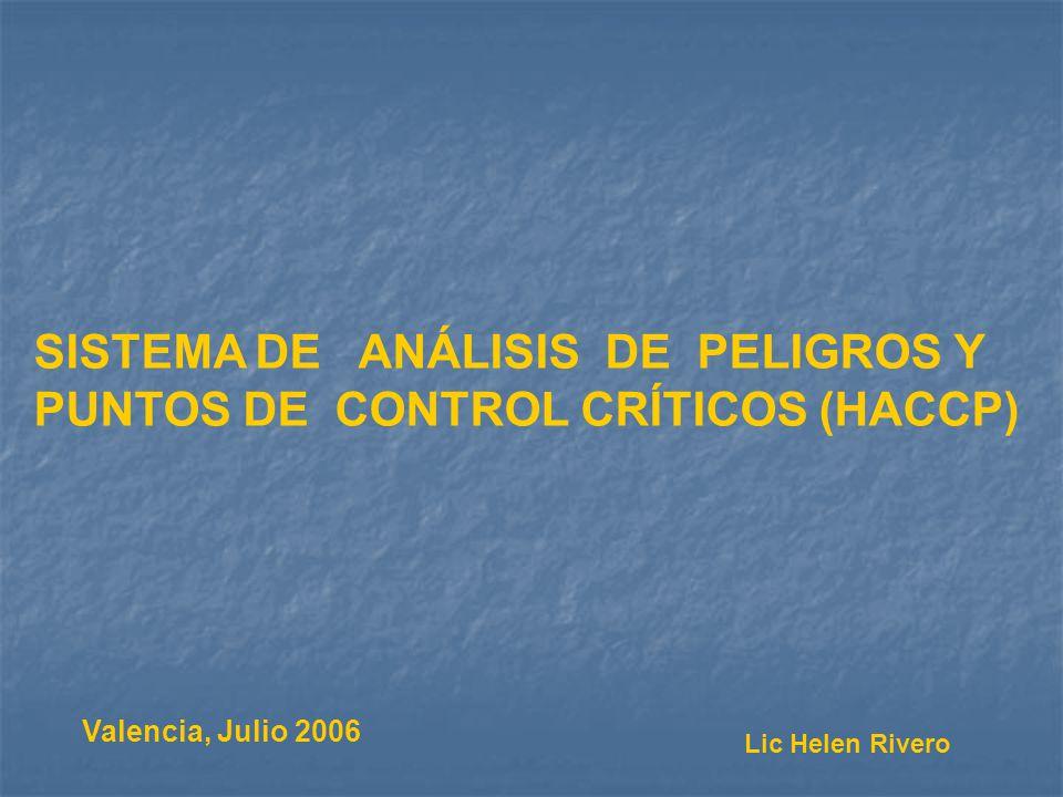 Valencia, Julio 2006 SISTEMA DE ANÁLISIS DE PELIGROS Y PUNTOS DE CONTROL CRÍTICOS (HACCP) Lic Helen Rivero