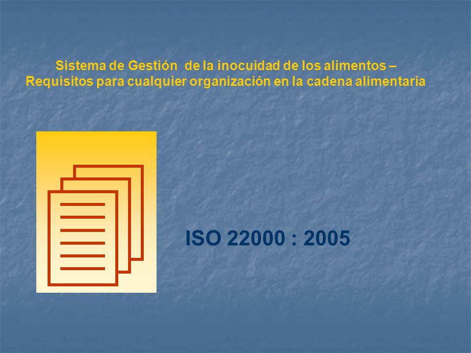 Sistema de Gestión de la inocuidad de los alimentos – Requisitos para cualquier organización en la cadena alimentaria ISO 22000 : 2005