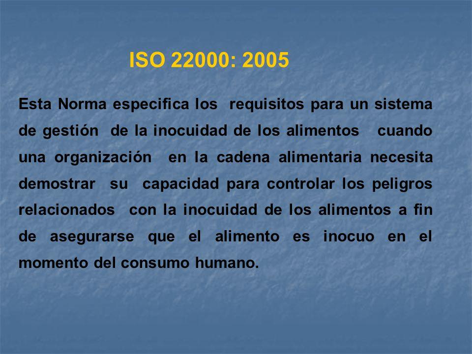 Esta Norma especifica los requisitos para un sistema de gestión de la inocuidad de los alimentos cuando una organización en la cadena alimentaria nece