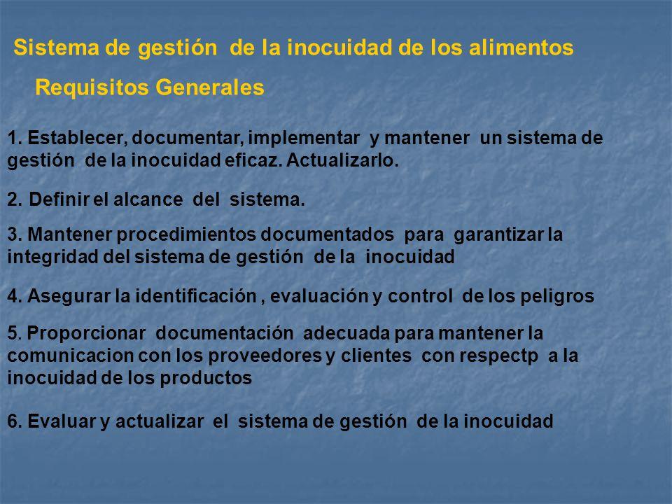 2. Definir el alcance del sistema. 1. Establecer, documentar, implementar y mantener un sistema de gestión de la inocuidad eficaz. Actualizarlo. 3. Ma
