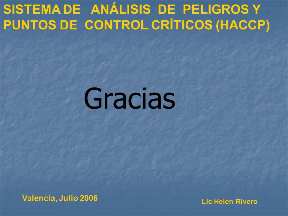 Valencia, Julio 2006 SISTEMA DE ANÁLISIS DE PELIGROS Y PUNTOS DE CONTROL CRÍTICOS (HACCP) Lic Helen Rivero Gracias