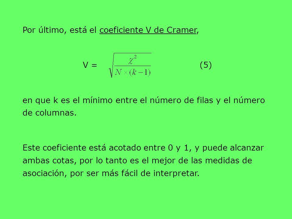 Por último, está el coeficiente V de Cramer, V = (5) en que k es el mínimo entre el número de filas y el número de columnas. Este coeficiente está aco