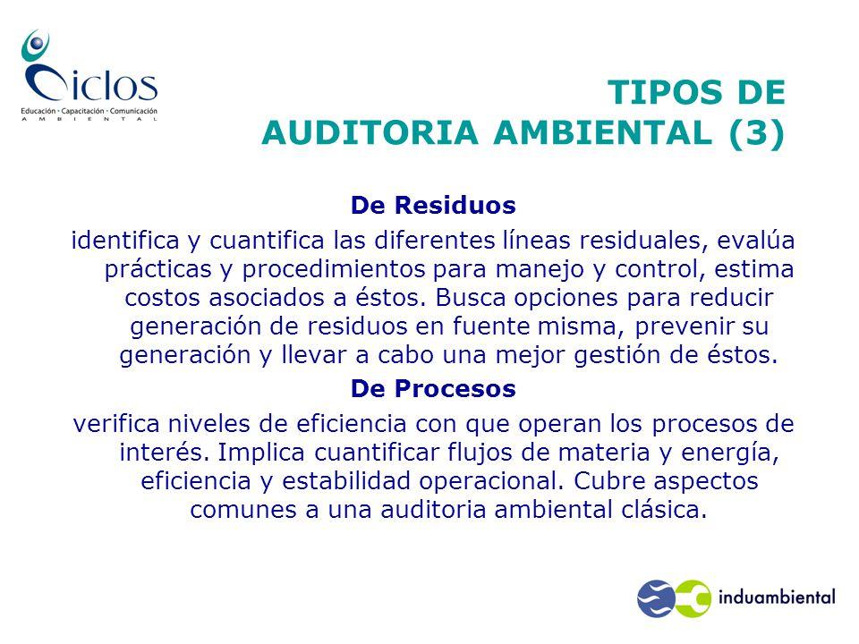 TIPOS DE AUDITORIA AMBIENTAL (3) De Residuos identifica y cuantifica las diferentes líneas residuales, evalúa prácticas y procedimientos para manejo y control, estima costos asociados a éstos.