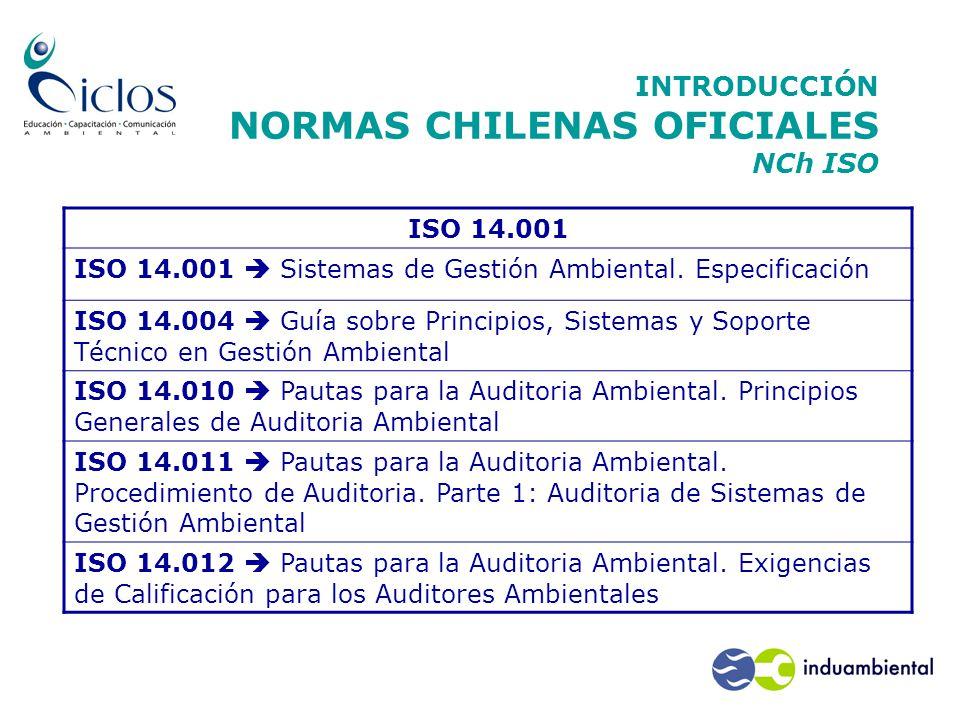 INTRODUCCIÓN NORMAS CHILENAS OFICIALES NCh ISO ISO 14.001 ISO 14.001  Sistemas de Gestión Ambiental.