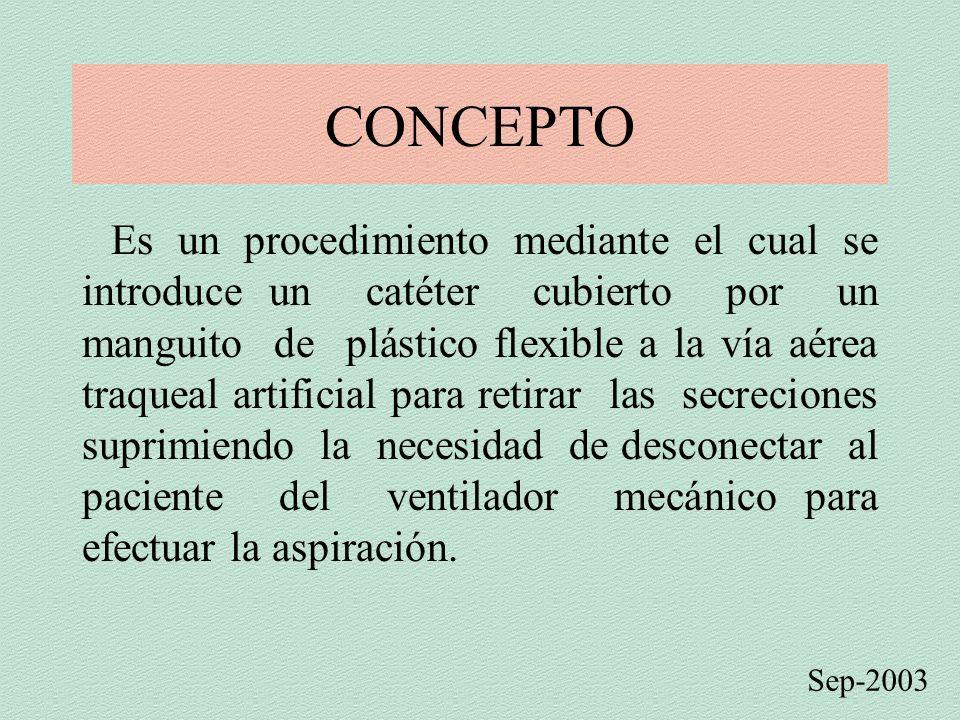 CONCEPTO Es un procedimiento mediante el cual se introduce un catéter cubierto por un manguito de plástico flexible a la vía aérea traqueal artificial