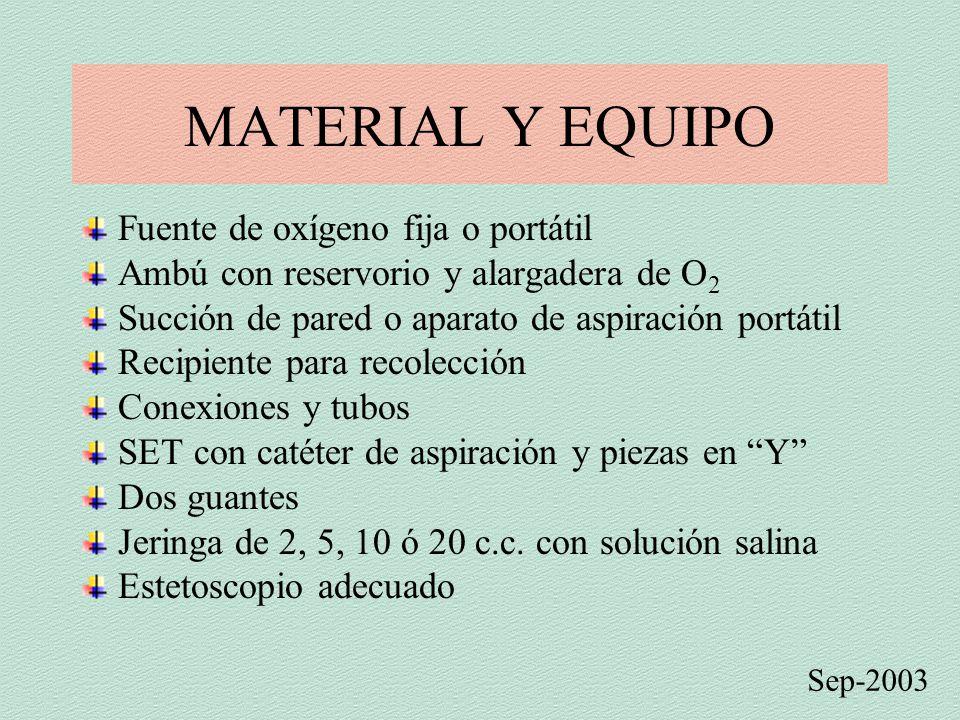 MATERIAL Y EQUIPO Fuente de oxígeno fija o portátil Ambú con reservorio y alargadera de O 2 Succión de pared o aparato de aspiración portátil Recipien