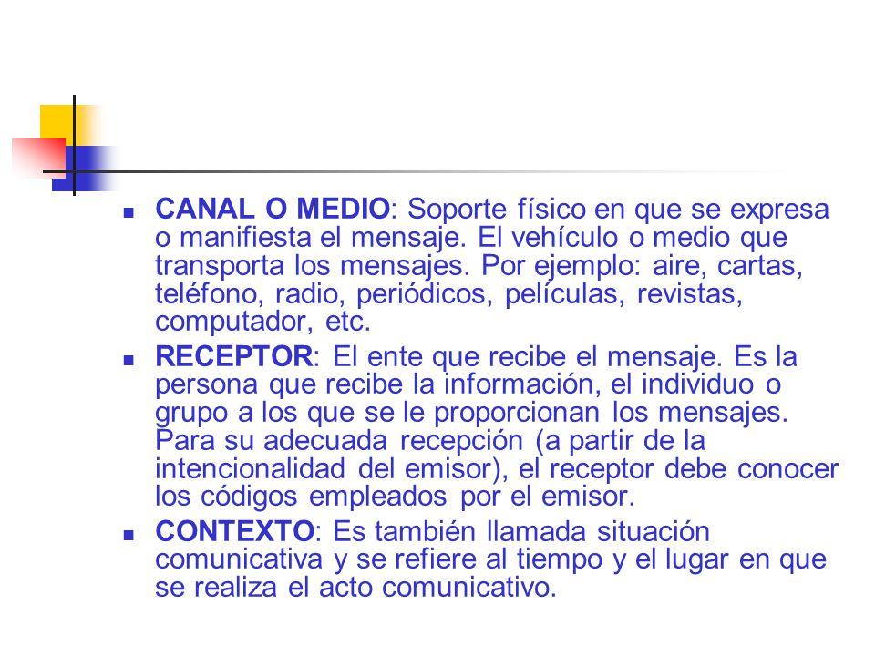 CANAL O MEDIO: Soporte físico en que se expresa o manifiesta el mensaje.