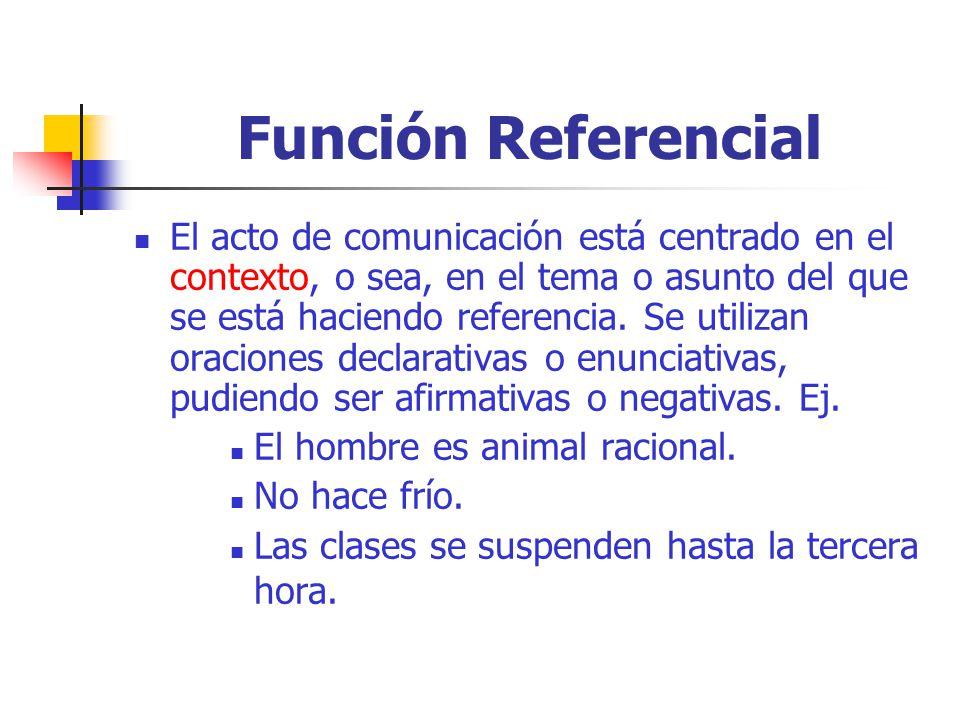 Función Referencial El acto de comunicación está centrado en el contexto, o sea, en el tema o asunto del que se está haciendo referencia.