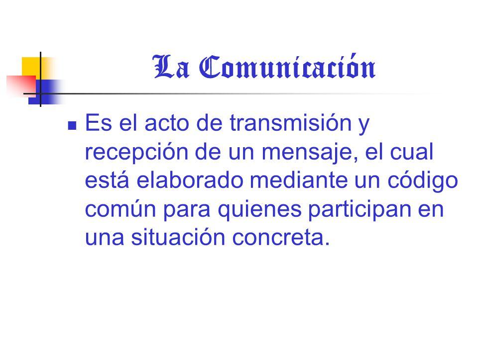 La Comunicación Es el acto de transmisión y recepción de un mensaje, el cual está elaborado mediante un código común para quienes participan en una situación concreta.