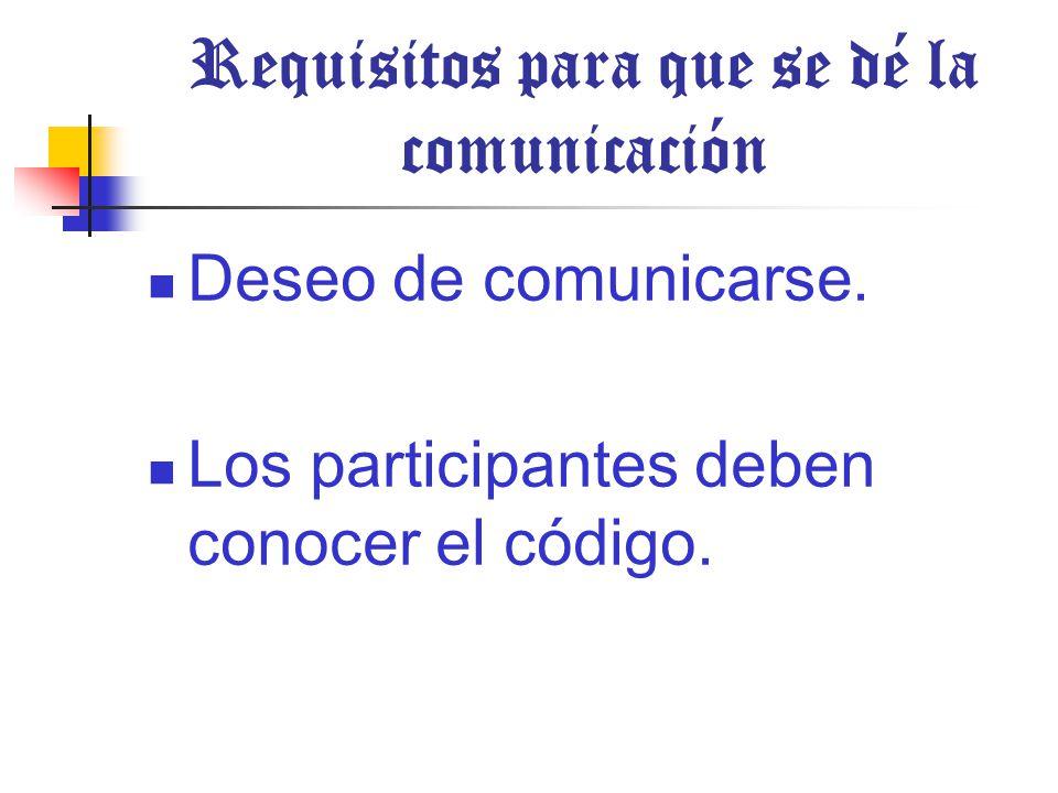 Requisitos para que se dé la comunicación Deseo de comunicarse.
