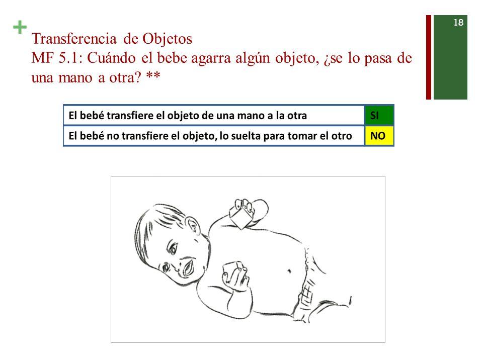 + Transferencia de Objetos MF 5.1: Cuándo el bebe agarra algún objeto, ¿se lo pasa de una mano a otra.