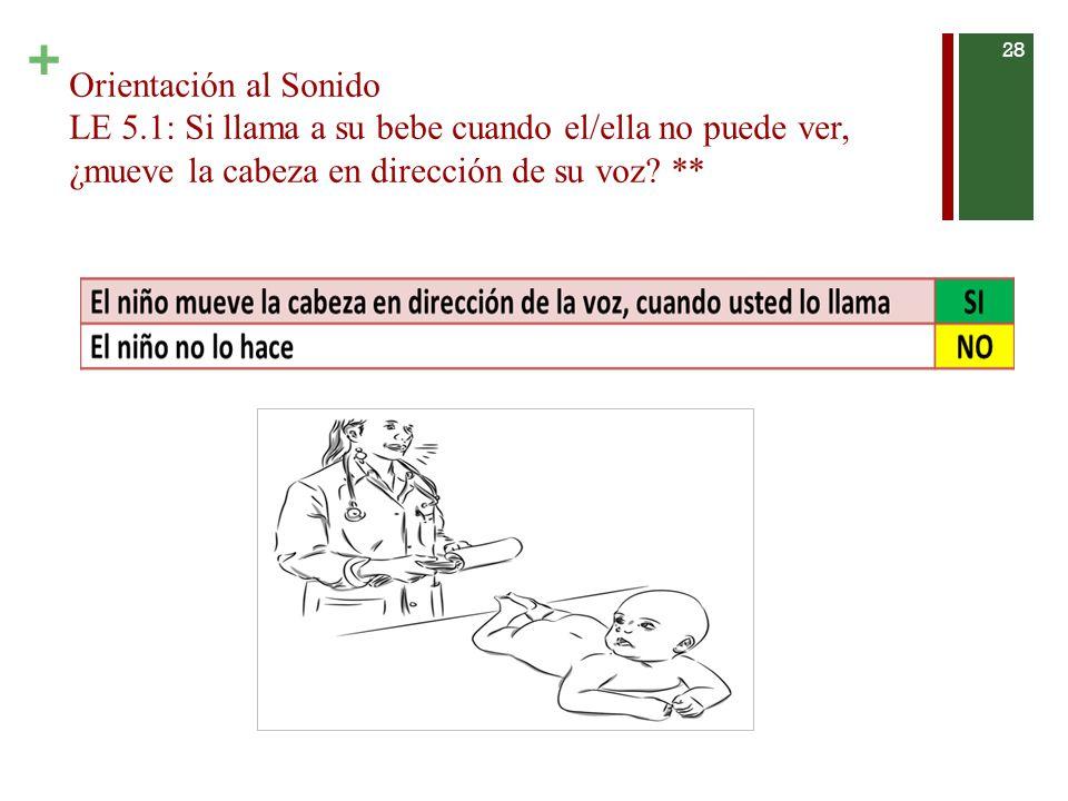 + Orientación al Sonido LE 5.1: Si llama a su bebe cuando el/ella no puede ver, ¿mueve la cabeza en dirección de su voz.