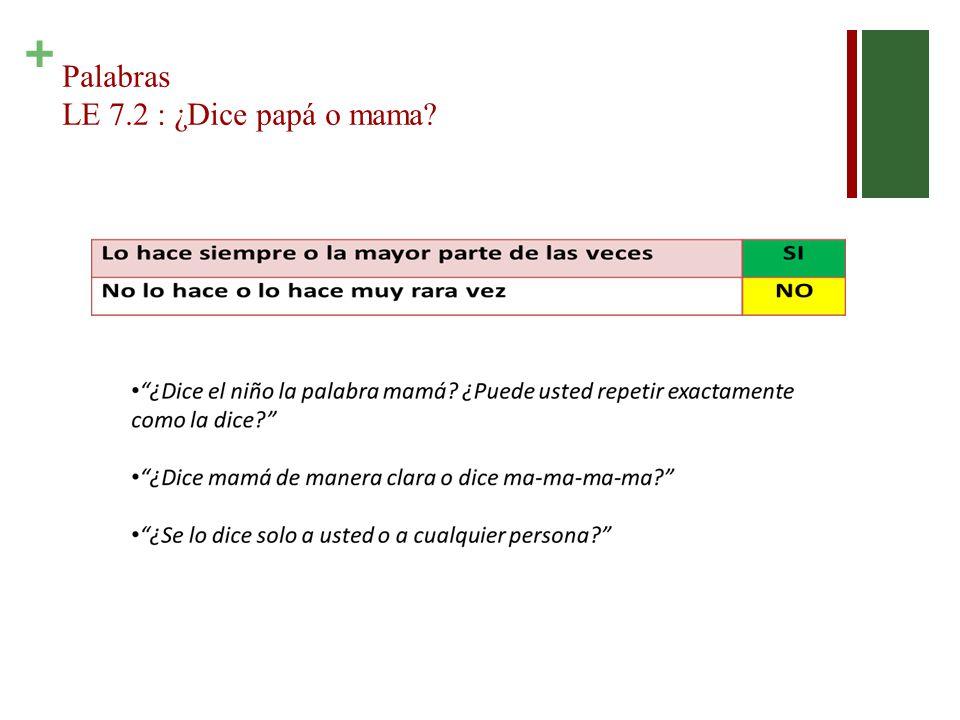 + Palabras LE 7.2 : ¿Dice papá o mama?