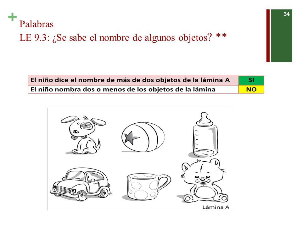 + Palabras LE 9.3: ¿Se sabe el nombre de algunos objetos ? ** 34