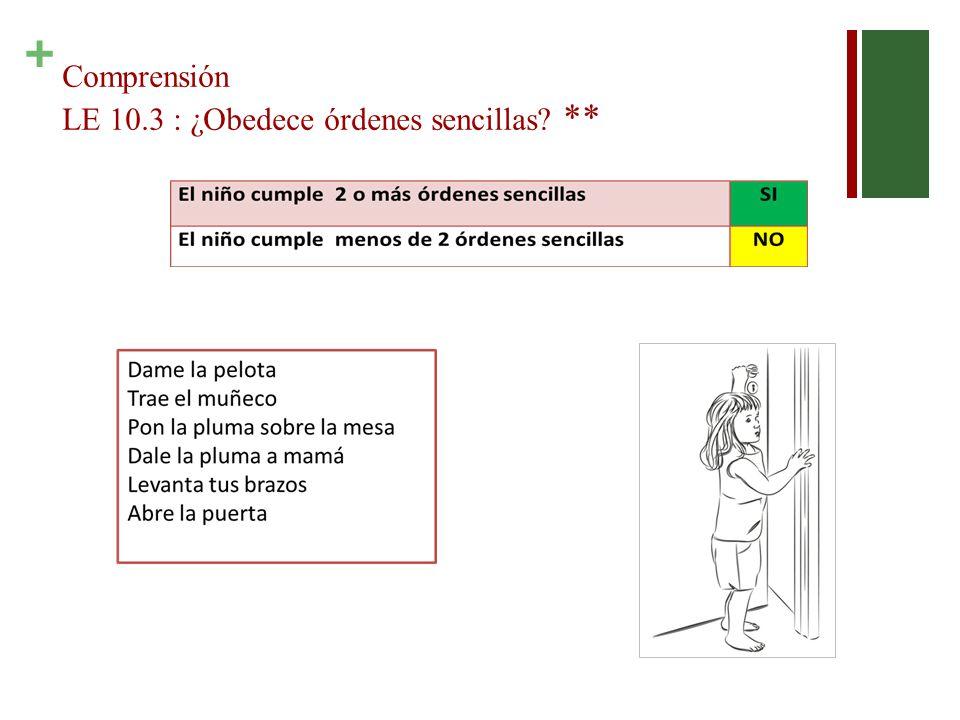 + Comprensión LE 10.3 : ¿Obedece órdenes sencillas? **
