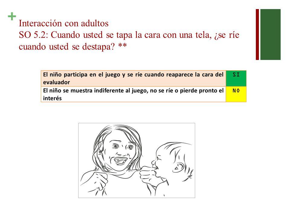 + Interacción con adultos SO 5.2: Cuando usted se tapa la cara con una tela, ¿se ríe cuando usted se destapa.