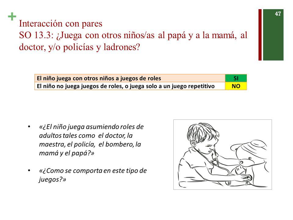+ Interacción con pares SO 13.3: ¿Juega con otros niños/as al papá y a la mamá, al doctor, y/o policías y ladrones.