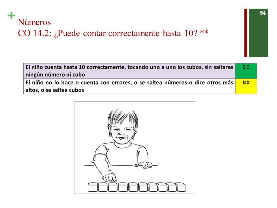 + Números CO 14.2: ¿Puede contar correctamente hasta 10? ** 54