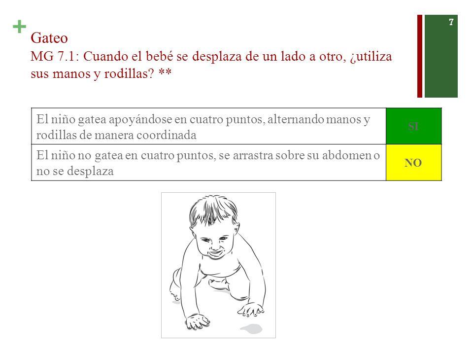 + Gateo MG 7.1: Cuando el bebé se desplaza de un lado a otro, ¿utiliza sus manos y rodillas.