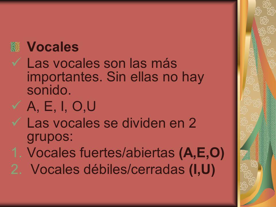 Vocales Las vocales son las más importantes.Sin ellas no hay sonido.