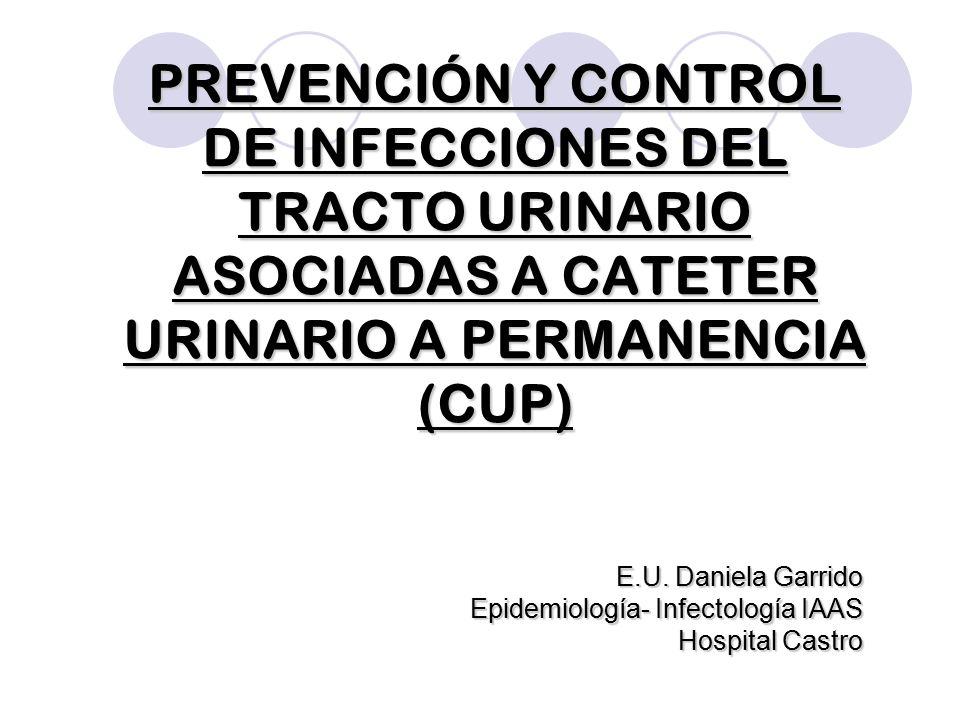 PREVENCIÓN Y CONTROL DE INFECCIONES DEL TRACTO URINARIO ASOCIADAS A CATETER URINARIO A PERMANENCIA (CUP) E.U. Daniela Garrido Epidemiología- Infectolo