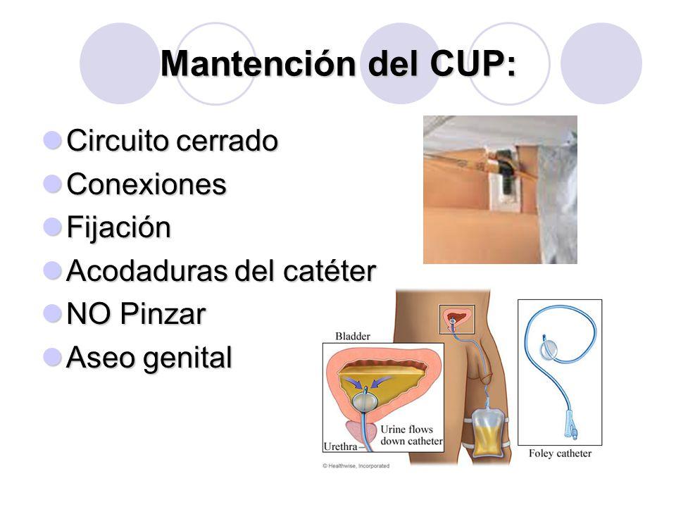 Mantención del CUP: Circuito cerrado Circuito cerrado Conexiones Conexiones Fijación Fijación Acodaduras del catéter Acodaduras del catéter NO Pinzar NO Pinzar Aseo genital Aseo genital