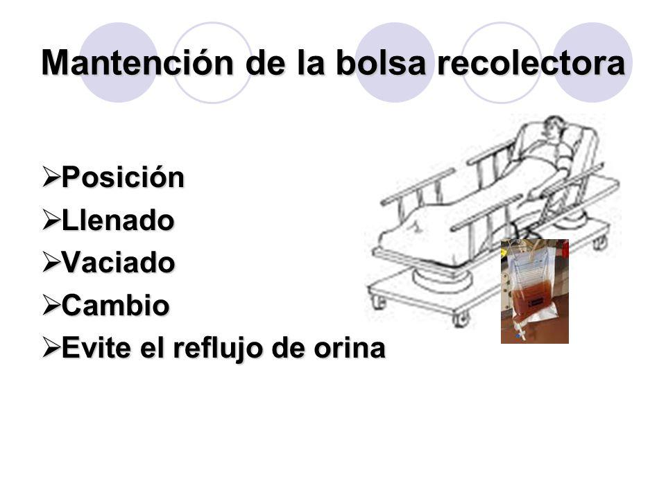 Mantención de la bolsa recolectora  Posición  Llenado  Vaciado  Cambio  Evite el reflujo de orina