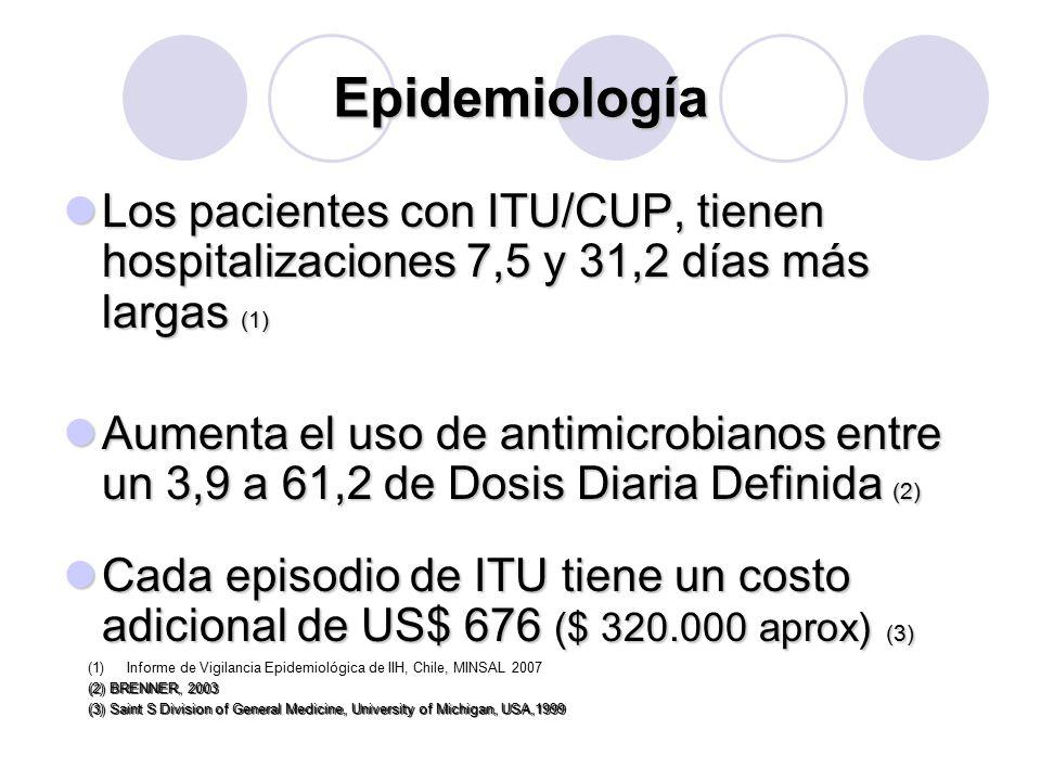 INFECCION URINARIA NOSOCOMIAL EN CHILE Desde 1996 se realiza vigilancia en cirugía, medicina y UPC adultos Desde 1996 se realiza vigilancia en cirugía, medicina y UPC adultos Tendencia a disminución Tendencia a disminución Indicador ITU/1000 días CUP Indicador ITU/1000 días CUP E.Coli es el agente etiológico más aislado, seguido de Pseudomona E.Coli es el agente etiológico más aislado, seguido de Pseudomona
