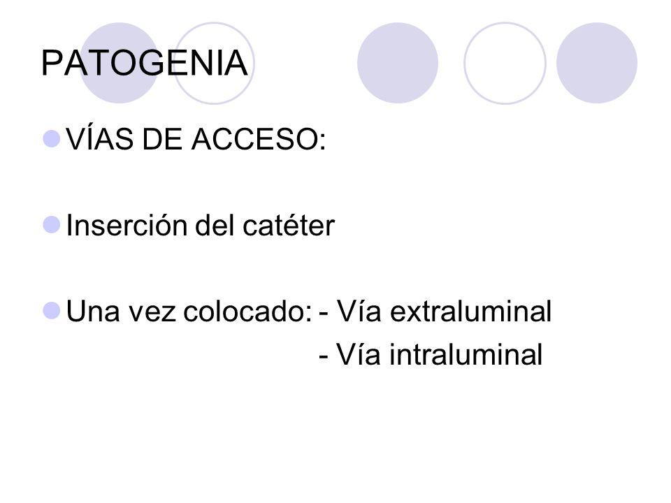 Patogenia Infección ascendente extraluminal Precoz (24 horas) : 18% Precoz (24 horas) : 18% Introducción de microorganismos durante la inserción del catéter Tardía (3º - 4º día) : 48% Tardía (3º - 4º día) : 48% Ascenso desde el área periuretral siguiendo la parte externa del catéter.