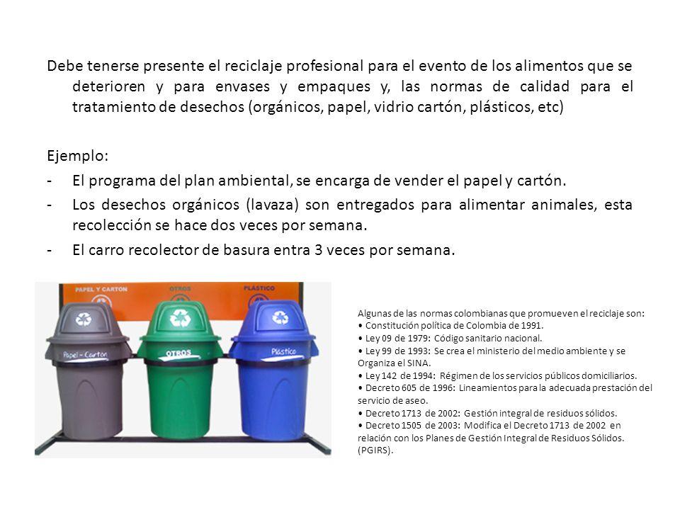 Debe tenerse presente el reciclaje profesional para el evento de los alimentos que se deterioren y para envases y empaques y, las normas de calidad para el tratamiento de desechos (orgánicos, papel, vidrio cartón, plásticos, etc) Ejemplo: -El programa del plan ambiental, se encarga de vender el papel y cartón.