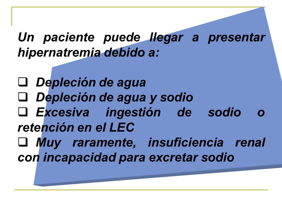Un paciente puede llegar a presentar hipernatremia debido a:  Depleción de agua  Depleción de agua y sodio  Excesiva ingestión de sodio o retención en el LEC  Muy raramente, insuficiencia renal con incapacidad para excretar sodio