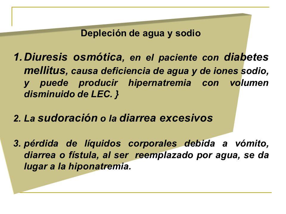 Depleción de agua y sodio 1.Diuresis osmótica, en el paciente con diabetes mellitus, causa deficiencia de agua y de iones sodio, y puede producir hipernatremia con volumen disminuido de LEC.