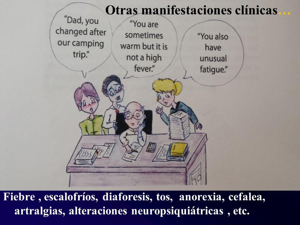 Fiebre, escalofríos, diaforesis, tos, anorexia, cefalea, artralgias, alteraciones neuropsiquiátricas, etc.