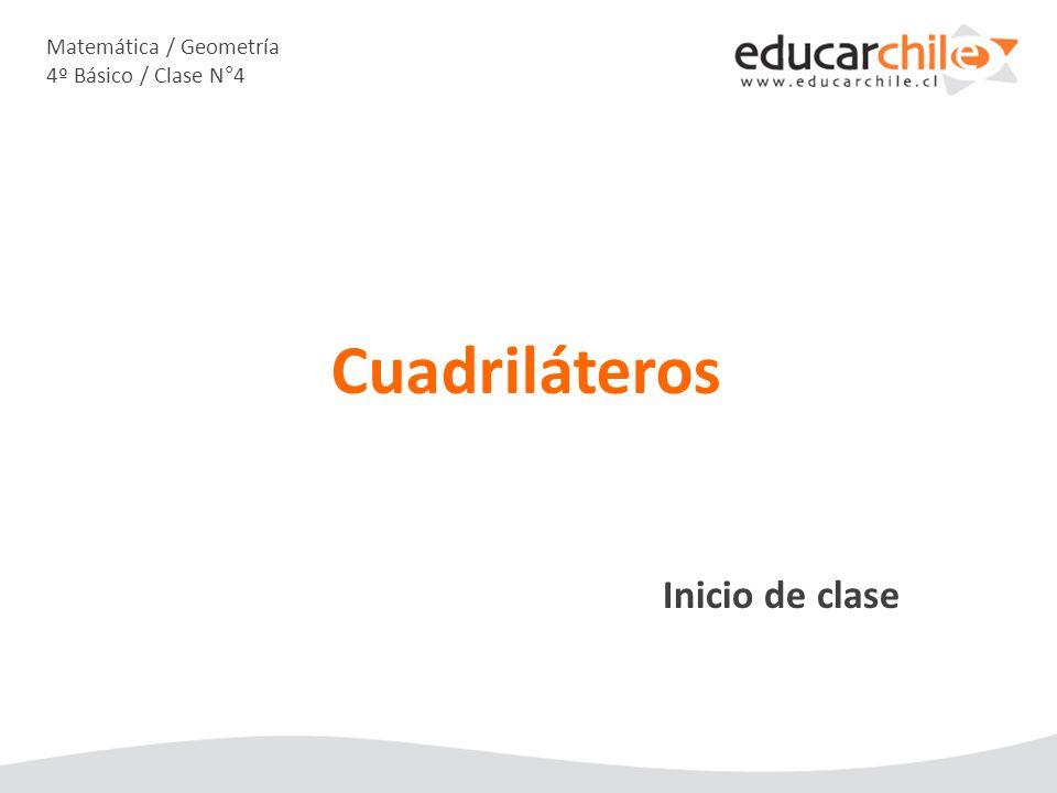 Matemática / Geometría 4º Básico / Clase N°4 Inicio de clase Cuadriláteros