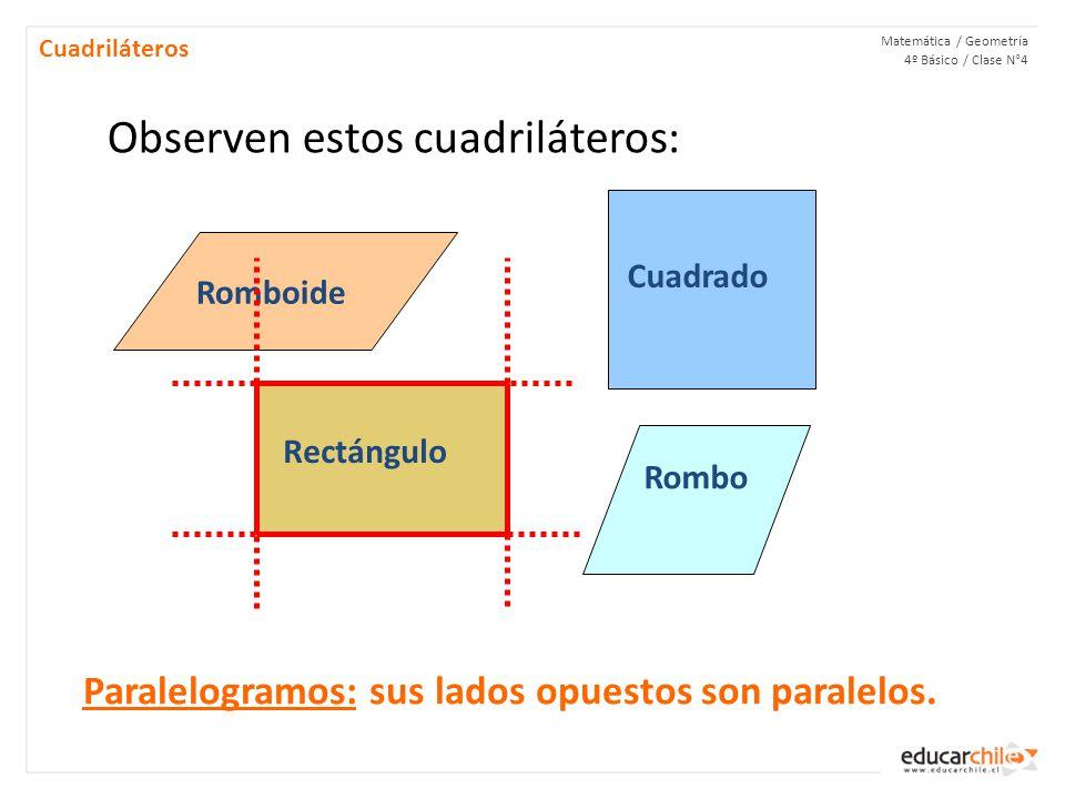Matemática / Geometría 4º Básico / Clase N°4 Cuadriláteros Observen estos cuadriláteros: Romboide Cuadrado Rectángulo Rombo Paralelogramos: sus lados opuestos son paralelos.