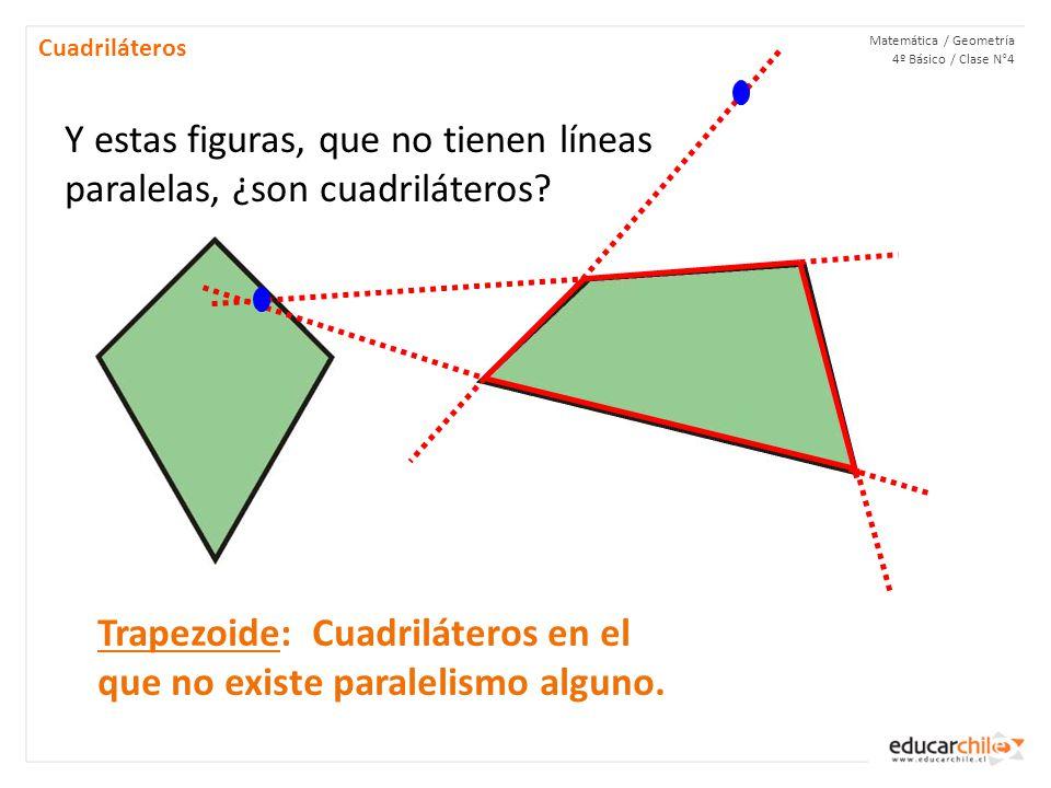 Matemática / Geometría 4º Básico / Clase N°4 Cuadriláteros Y estas figuras, que no tienen líneas paralelas, ¿son cuadriláteros.