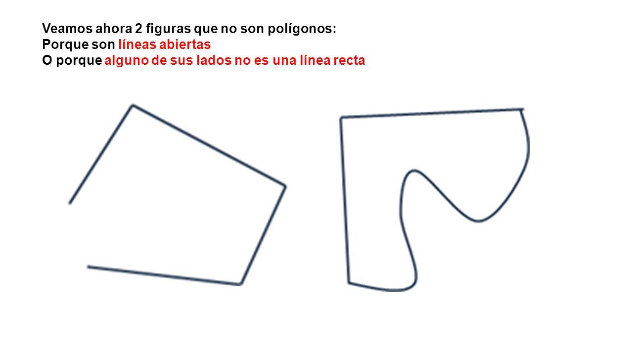 Veamos ahora 2 figuras que no son polígonos: Porque son líneas abiertas O porque alguno de sus lados no es una línea recta