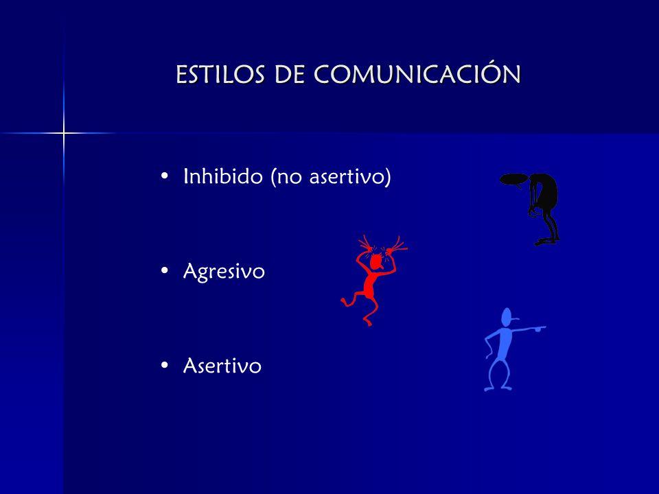 ESTILOS DE COMUNICACIÓN Inhibido (no asertivo) Agresivo Asertivo