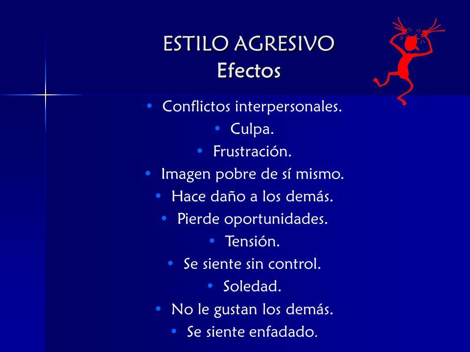 ESTILO AGRESIVO Efectos Conflictos interpersonales.